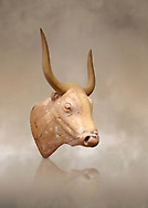 The Minoan clay bull's head rhython lbation vessel,  Palaikastro 1500-1450 BC; Heraklion Archaeological  Museum. .<br /> <br /> If you prefer to buy from our ALAMY PHOTO LIBRARY  Collection visit : https://www.alamy.com/portfolio/paul-williams-funkystock/minoan-art-artefacts.html . Type -   Heraklion   - into the LOWER SEARCH WITHIN GALLERY box. Refine search by adding background colour, place, museum etc<br /> <br /> Visit our MINOAN ART PHOTO COLLECTIONS for more photos to download  as wall art prints https://funkystock.photoshelter.com/gallery-collection/Ancient-Minoans-Art-Artefacts-Antiquities-Historic-Places-Pictures-Images-of/C0000ricT2SU_M9w