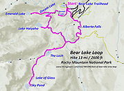 Topo map of Bear Lake Loop, hike 13 miles with 2600 feet gain, in Rocky Mountain National Park, Colorado, USA. Hike a classic loop from Bear Lake Trailhead with spur trails to many beautiful lakes, waterfalls and peaks.Walk a scenic circuit of well-graded paths 6-13 miles with 1500-2600 feet gain. We enjoyed looping counterclockwise from Bear Lake Trailhead 13 miles via Bear Lake, Nymph Lake, Dream Lake, Emerald Lake, Lake Haiyaha, The Loch, Lake of Glass, Sky Pond, Alberta Falls then back. Arrive early for parking or take the shuttle.