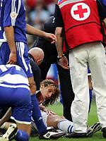 Fotball, 1. juli 2004, Tsjekkia - Hellas, EM semifinale, Euro 2004, Tschechiens Pavel Nedved hat sich verletzt