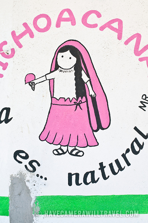 Wall painting advertising store in Zihuatanejo, Mexico