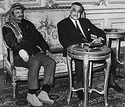 Gamal Abdul Nasser (1918-1970) President of Egypt, with Yasser Arafat (1929-2004) Chairman of the Palestine Liberation Organisation (PLO) in Cairo, 1969.