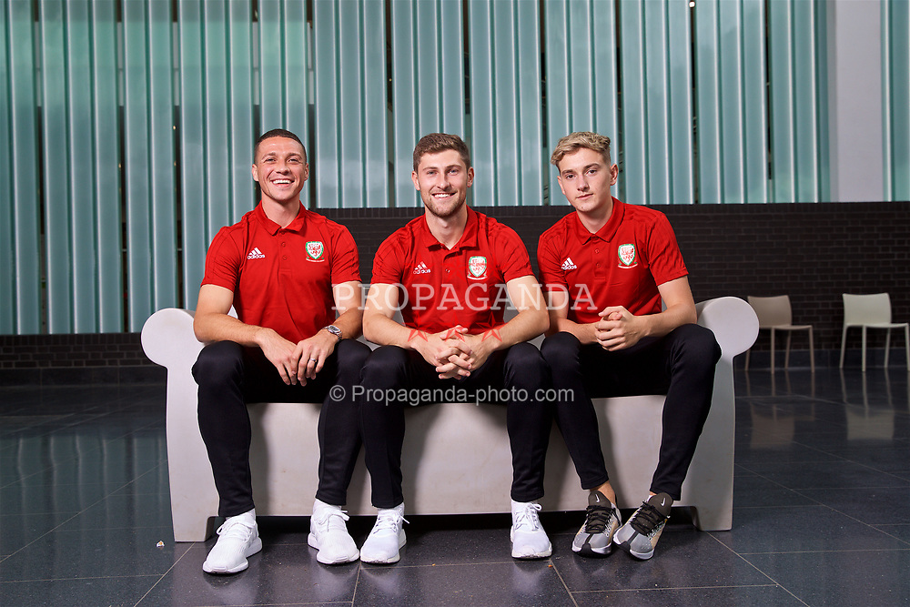 CARDIFF, WALES - Monday, September 3, 2018: Wales' L-R James Chester, Ben Davies and David Brooks pose for a portrait at the St Fagans National Museum of History ahead of the UEFA Nations League Group Stage League B Group 4 match against Republic of Ireland. (Pic by David Rawcliffe/Propaganda)