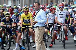 July 3, 2017 - Longwy, Luxembourg - GOUVENOU  Thierry of ASO, cycling race director pictured in front of THOMAS Geraint (GBR) Rider of Team SKY in the yellow leader jersey before stage 3 of the 104th edition of the 2017 Tour de France cycling race, a  stage of 212 kms between Verviers and Longwy on July 03, 2017 in Longwy, Luxembourg, 3/07/2017 (Credit Image: © Panoramic via ZUMA Press)