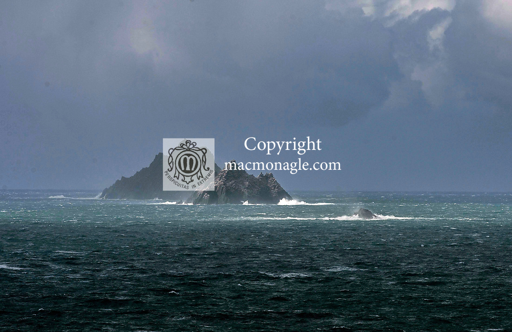 The Skellig Ring, a coastal driving route off the Ring of Kerry, has been named by travel guide publisher Lonely Planet as one of the top ten regions in the world to visit in 2017.<br /> The route is the gateway to Portmagee, Valentia and The Skellig Rocks which featurein the closing scenes of the Star Wars Episode VII movie, and is expected to feature extensively in the sequel due for release next year.<br /> Photo shows the Skellig Rocks as viewed from the Skellig Ring which has been named by travel guide publisher Lonely Planet as one of the top ten regions in the world to visit in 2017.<br /> Photo: Don MacMonagle Skellig Ring, Kerry Ireland
