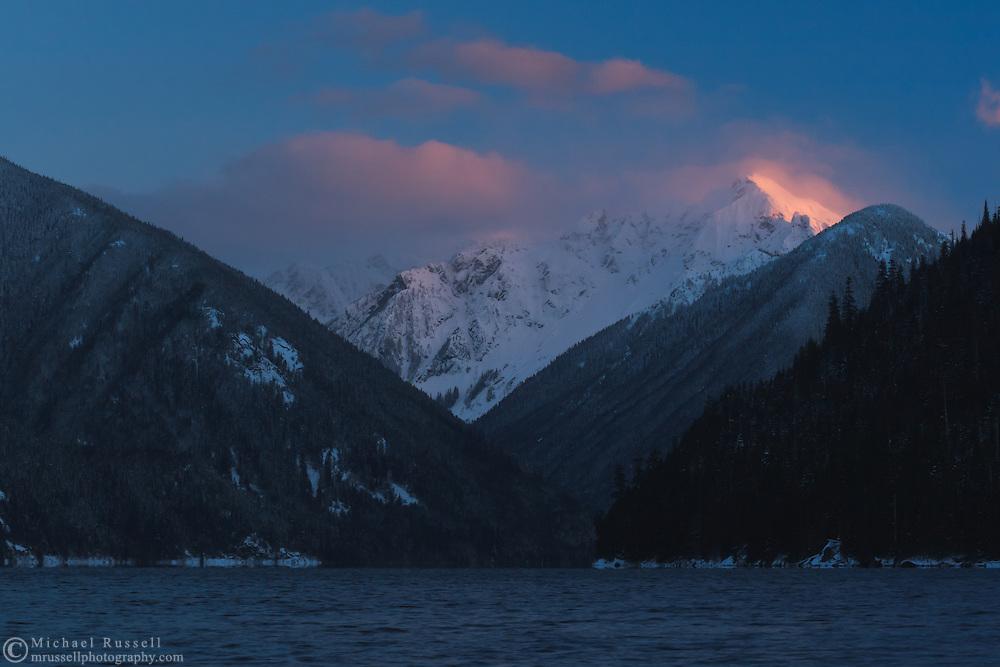 Alpenglow on Nodoubt Peak at Chilliwack Lake Provincial Park.