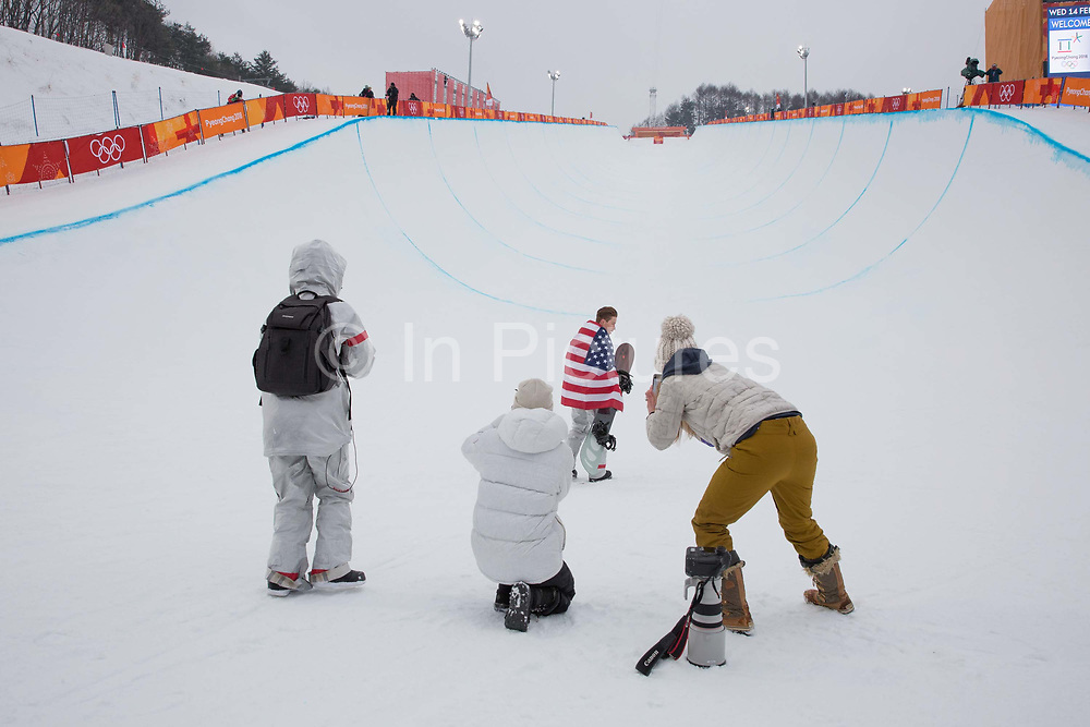 Shaun White, USA, celebrates winning the mens Snowboard Halfpipe competition during the Pyeongchang Winter Olympics on 14th February 2018 at Phoenix Snow Park in South Korea