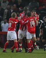 Photo: Mark Stephenson.<br />Cheltenham Town v Bristol City. Coca Cola League 1. 23/12/2006.<br />Cheltenham players celebrate.
