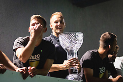 Mativ Maruško of NŠ Mura holding the trophie during reception of NS Mura players after winning Slovenian cup, on June 25, 2020 in Fazanerija, Murska Sobota, Slovenia. Photo by Blaž Weindorfer / Sportida
