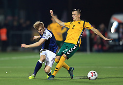 Scotland's Stuart Armstrong (left) and Lithuania's Egidijus Vaitkunas battle for the ball during the 2018 FIFA World Cup Qualifying, Group F match at the LFF Stadium, Vilnius.
