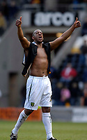 Photo: Jed Wee/Sportsbeat Images.<br /> Hull City v Norwich City. Coca Cola Championship. 06/04/2007.<br /> <br /> Norwich's Dion Dublin celebrates at the final whistle.
