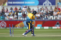 July 1, 2019 - Chester Le Street, County Durham, United Kingdom - Sri Lanka's Angelo Mathews is bowled by West Indies' Jason Holder                 during the ICC Cricket World Cup 2019 match between Sri Lanka and West Indies at Emirates Riverside, Chester le Street on Monday 1st July 2019. (Credit Image: © Mi News/NurPhoto via ZUMA Press)
