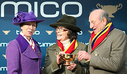 The Princess Royal presents the Timico Cheltenham Gold Cup to winning owners Anne and Garth Broom during Gold Cup Day of the 2018 Cheltenham Festival at Cheltenham Racecourse.
