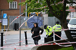 © Licensed to London News Pictures. 02/05/2018. London, UK. The scene outside Queensbury tube station on  Cumberland Road <br />  in North West London where one man was killed and another man was injured in a shooting last night (Tues) . Photo credit: Ben Cawthra/LNP