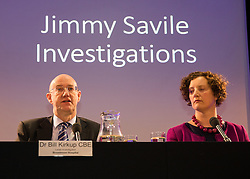 © Licensed to London News Pictures. 26/06/2014. LONDON. (L-R) Dr Bill Kirkup CBE, Lead Investigator, Broadmoor Hospital.  Stephanie Hood, Press Conference Chair. The Lampard Report Press Conference.  An independent oversight of NHS and Department of Health investigations into matters relating to Jimmy Savile. Photo credit : Graham Eva/LNP