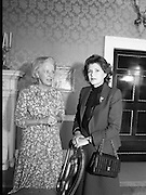 1983-04-07.7th April 1983.07-04-1983.04-07-83..Photographed at Áras an Uachtaráin..During UN Secretary General's visit to to Áras an Uachtaráin his wife meets with the wife of The Iish President...Fom Left:..Maeve Hillery .Marcela de Cuellar..