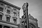 SHOT 10/19/17 4:11:21 PM - Shea's Performing Arts Center (originally Shea's Buffalo) is a theater for touring Broadway musicals and special events in Buffalo, New York. Originally called Shea's Buffalo, it was opened in 1926 to show silent movies. It took one year to build the entire theatre. Shea's boasts one of the few theater organs in the US that is still in operation in the theater for which it was designed. Shea's Buffalo, flagship of the theater chain, was designed by the noted firm of Rapp and Rapp of Chicago. Modeled in a combination of Spanish and French Baroque and Rococo styles, the theatre was designed to resemble opera houses and palaces of Europe of the 17th and 18th centuries. Originally the seating accommodated nearly 4,000 people, but several hundred seats were removed in the 1930s to make more comfortable accommodations in the orchestra area; there are now 3,019 seats at Shea's. The interior was designed by world-renowned designer/artist Louis Comfort Tiffany with most of the elements still in place today. Buffalo, N.Y. is the second most populous city in the state of New York and is located in Western New York on the eastern shores of Lake Erie and at the head of the Niagara River. By 1900, Buffalo was the 8th largest city in the country, and went on to become a major railroad hub, the largest grain-milling center in the country and the home of the largest steel-making operation in the world. The latter part of the 20th Century saw a reversal of fortunes: by the year 1990 the city had fallen back below its 1900 population levels. (Photo by Marc Piscotty / © 2017)