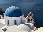 High angle view of the Ekklisia (church) Analipsi, Oia, Santorini, Greece