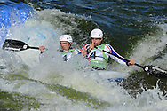 Great Britain's Timothy Baillie and Etienne Stott in the  C2 (Canoe double) class.  ICF Canoe slalom world cup at the Cardiff white water centre in Cardiff, South Wales on Sat 9th June 2012.  pic by Andrew Orchard, Andrew Orchard sports photography,