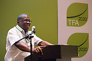 Saah A. David, Jr, National REDD+ Project Coordinator at Liberia's Forestry Development Authority (FDA), shares the experience of the Africa Palm Oil Initiative at the General Assembly of the Tropical Forest Alliance 2020 in Jakarta, Indonesia, on March 11, 2016. His presentation was about the results and the outlook of the Africa Palm Oil Initiative, the first signature initiative of TFA 2020. <br /> (Photo: Rodrigo Ordonez)