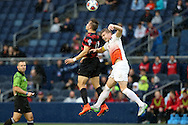 13 December 2015: Stanford's Jordan Morris (13) and Clemson's Kyle Fisher (2) challenge for the ball. The Clemson University Tigers played the Stanford University Cardinal at Sporting Park in Kansas City, Kansas in the 2015 NCAA Division I Men's College Cup championship match. Stanford won the game 4-0.