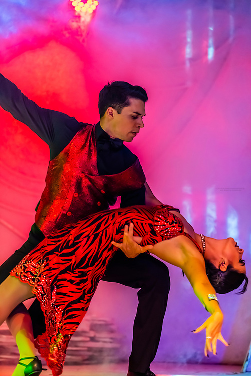 Tango dancing, Latin American cultural stage show at Rafain Churrascaria restaurant in Foz do Iguacu, Brazil.                          The show features dance and costumes from Argentina, Bolivia, Brazil, Chile, Colombia, Mexico, Paraguay, and Uruguay.
