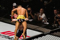 October 28, 2017 - Sao Paulo, Sao Paulo, Brazil - Oct, 2017 - Sao Paulo, Sao Paulo, Brazil - Fight between DEIVESON ALCANTARA and JARRED BROOKS (The Monkey God) during UFC Fight Night, at the Ibirapuera Gymnasium in Sao Paulo, this Saturday (28). DEIVESON (in yellow) won. (Credit Image: © Marcelo Chello/CJPress via ZUMA Wire)