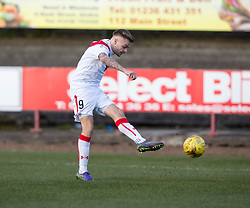 Airdrie's Andrew Ryan scoring their first goal. Half time : Albion Rover 0 v 2 Airdrie, Scottish League 1 game played 5/11/2016 at Cliftonhill.