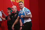 Gerwyn Price wins leg and celebrates during the Ladrokes UK Open 2019 at Butlins Minehead, Minehead, United Kingdom on 1 March 2019.