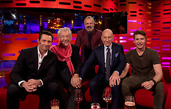 (left to right) Hugh Jackman, Sir Ian McKellen, Graham Norton, Patrick Stewart and James Blunt during filming of the Graham Norton Show at The London Studios.