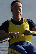 Seville. SPAIN, 18.02.2007, SWE W1X Frida SVENSSON, moves away from the start pontoon during Sunday morning's  heats, at the FISA Team Cup, held on the River Guadalquiver course. [Photo Peter Spurrier/Intersport Images]    [Mandatory Credit, Peter Spurier/ Intersport Images]. , Rowing Course: Rio Guadalquiver Rowing Course, Seville, SPAIN,