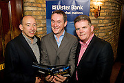 """19/7/2011. Bobby Bergin , Ulster Bank, John Crumlish, Galway Arts Festival and Brendan McDermott, Ulster Bank in McSwiggans for the pre show reception of Propellors """"Comedy of Errors"""" by Shakspeare in the Galway Arts Festival, sponsored by Ulster Bank. Photo:Andrew Downes"""