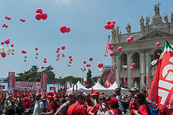 June 17, 2017 - Rome, Italy, Italy - The workers of the main Italian trade union have manifested themselves in Rome to demand more Respect, more Work, more Democracy. Political and trade union representatives also attended the event, including former secretary of CGIL Guglielmo Epifani, national secretary of Italian Left Nicola Fratoianni and the National Metalworker (FIOM) secretary Maurizio Landini. The event ended with the intervention of the national secretary Susanna Camusso.The workers of the main Italian trade union have manifested themselves in Rome to demand more Respect, more Work, more Democracy. Political and trade union representatives also attended the event, including former secretary of CGIL Guglielmo Epifani, national secretary of Italian Left Nicola Fratoianni and the National Metalworker (FIOM) secretary Maurizio Landini. The event ended with the intervention of the national secretary Susanna Camusso (Credit Image: © Leo Claudio De Petris/Pacific Press via ZUMA Wire)