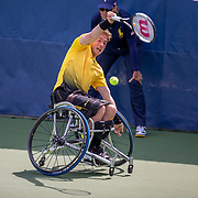 2019 US Open Tennis Tournament- Day Fourteen.   Alfie Hewett of Great Britain in action against Stephane Houdet of France in the Wheelchair Men's Singles Final on court eleven during the 2019 US Open Tennis Tournament at the USTA Billie Jean King National Tennis Center on September 8th, 2019 in Flushing, Queens, New York City.  (Photo by Tim Clayton/Corbis via Getty Images)