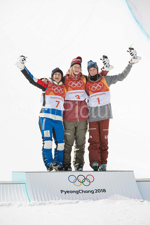 Marie Martinod, France, SILVER with Cassie Sharpe, Canada, GOLD and Brita Sigourney, USA, BRONZE, during the womens skiing halfpipe flower ceremony at the Pyeongchang 2018 Winter Olympics on February 20th 2018, at the Phoenix Snow Park in Pyeongchang-gun, South Korea