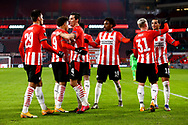 Donyell Malen of PSV Eindhoven (2L) celebrates after scoring his sides first goal with his team mates during the UEFA Europa League, Group E football match between PSV and Omonia Nicosia on December 10, 2020 at Philips Stadion in Eindhoven, Netherlands - Photo Perry vd Leuvert / Orange Pictures / ProSportsImages / DPPI
