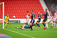 Luton Town defender Dan Potts (3) (on the floor) just misses this cross during the EFL Sky Bet League 1 match between Doncaster Rovers and Luton Town at the Keepmoat Stadium, Doncaster, England on 8 September 2018.