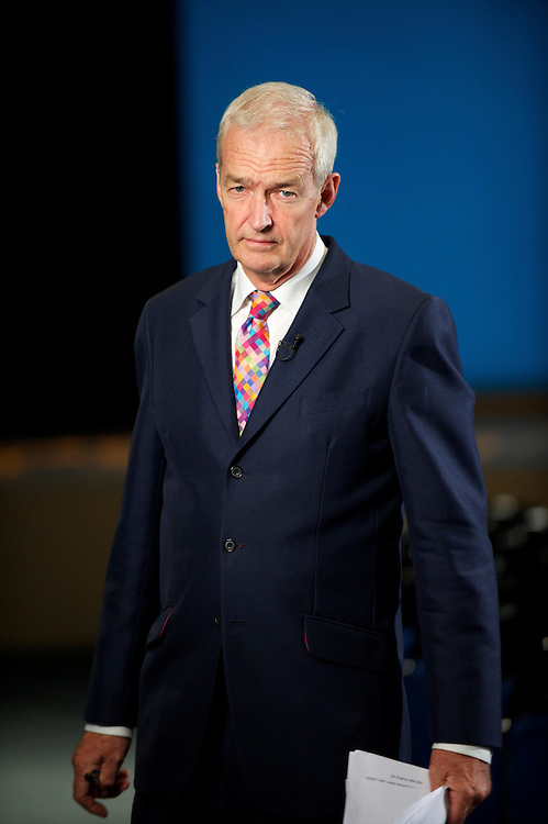 Channel 4 ITV news anchor Jon Snow broadcasts live from the Liberal Democrat Autumn Conference in Liverpool on 19 September 2010.  This was the first party conference since the government coalition with the tories..