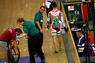 Men Keirin, Sandor Szalontay (Hungary) after crash, during the Track Cycling European Championships Glasgow 2018, at Sir Chris Hoy Velodrome, in Glasgow, Great Britain, Day 6, on August 7, 2018 - Photo luca Bettini / BettiniPhoto / ProSportsImages / DPPI<br /> - Restriction / Netherlands out, Belgium out, Spain out, Italy out -