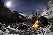 LADAKH, INDIA: View of campsite at night in Hemis National Park.