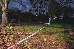 © Licensed to London News Pictures. 05/12/2019. London, UK. A police cordon inside Chestnuts Park where a 14-year-old girl was allegedly raped. The victim was allegedly approached by a man who tried to engage her in conversation before raping her. The victim later alerted a family member who called police at 19:10 GMT on Thursday, 5 December 2019. Photo credit: Peter Manning/LNP