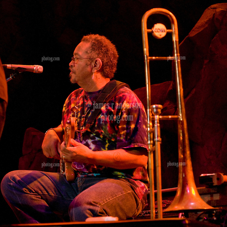 George Porter Jr. with 7 Walkers in Concert in The Wolfs Den at Mohegan Sun Casino on December 9, 2010. Matt Hubards Trombone foreground.