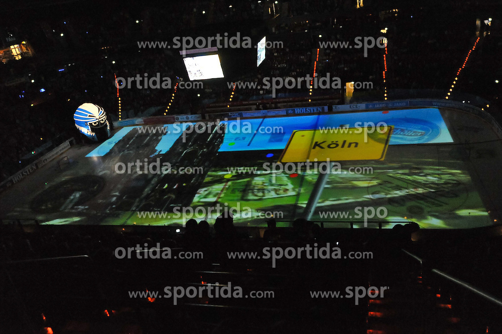 07.10.2011,  O2 World, Hamburg, GER, DEL, Hamburg Freezers vs Eisbaeren Berlin, im Bild Feature Projektion der Gegnerstaedte auf das Eis hier Koeln. // during match at O2 World 2011/10/07, Hamburg  EXPA Pictures © 2011, PhotoCredit: EXPA/ nph/  Witke       ****** out of GER / CRO  / BEL ******