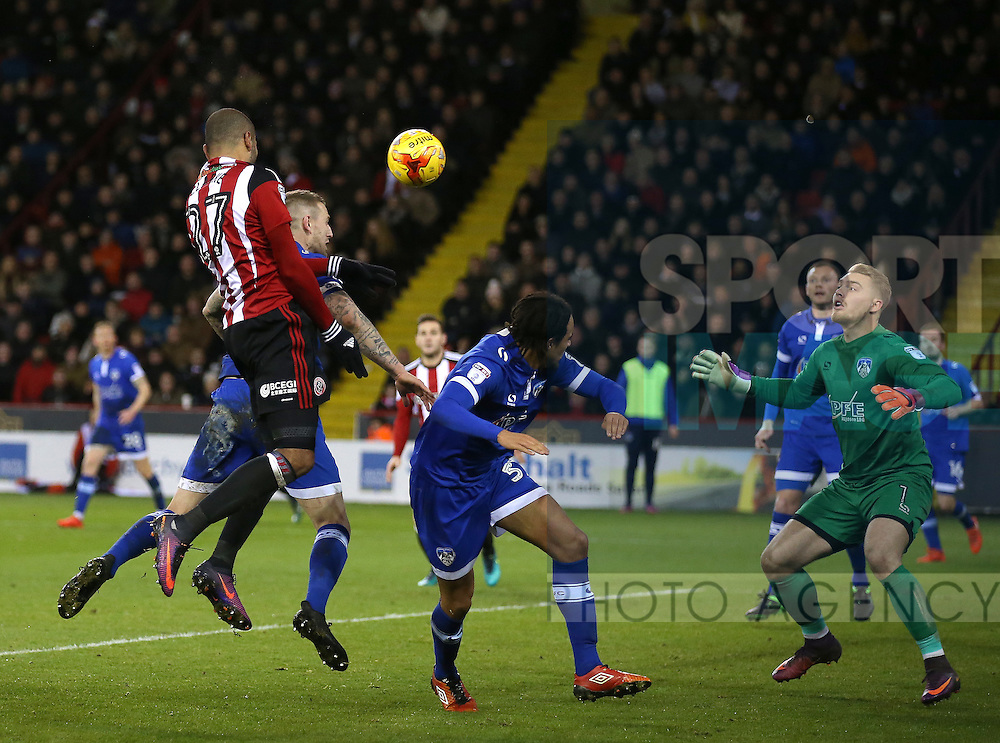 Leon Clarke of Sheffield Utd heads the ball across goal during the English League One match at Bramall Lane Stadium, Sheffield. Picture date: December 26th, 2016. Pic Simon Bellis/Sportimage
