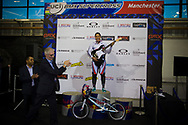 #12 (READE Shanaze) GBR wins the Time trial at the UCI BMX Supercross World Cup in Manchester, UK