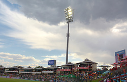 Pretoria 26-12-18. The 1st of three 5 day cricket Tests, South Africa vs Pakistan at SuperSport Park, Centurion. Day 1. Afternoon session.The light of the stadium come on as dark storm clouds gather over Centurion. <br /> Picture: Karen Sandison/African News Agency(ANA)