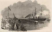 Crimean (Russo-Turkish) War 1853-1856. Grenadier Guards embarking on the steamer 'The Ripon' at Southampton, England, on their way to the Crimean War.  From 'The Illustrated London News' (London, 4 March 1854).