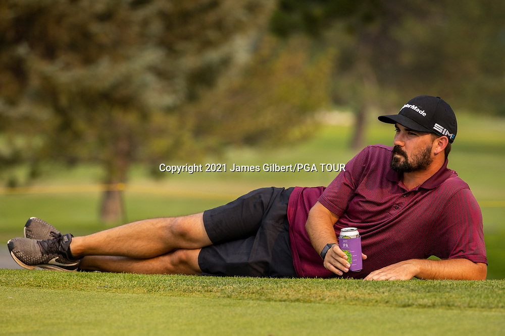 FARMINGTON, UT - AUGUST 08: Chad Ramey poses on the 18th green during the Trophy ceremony after the final round of the Utah Championship presented by Zions Bank at Oakridge Country Club on August 8, 2021 in Farmington, Utah. (Photo by James Gilbert/PGA TOUR via Getty Images)