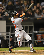 CHICAGO - MAY 21:  Adam Jones #10 of the Baltimore Orioles bats against the Chicago White Sox on May 21, 2018 at Guaranteed Rate Field in Chicago, Illinois.  (Photo by Ron Vesely)  Subject: Adam Jones