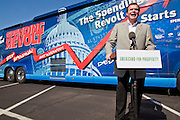 Aug 9, 2010 - SUN CITY WEST, AZ: J.D. HAYWORTH, a former US Congressman and right wing radio talk show host, speaks during the Spending Revolt Bus stop in Sun City West, AZ. Hayworth is running against Sen. John McCain in Arizona's Republican primary. Hayworth is hoping to capitalize on the Tea Party vote, though the Arizona Tea Party has not formally endorsed him. The Spending Revolt Bus stopped in Sun City West, a retirement community northwest of Phoenix, Monday. Spending Revolt is a new coalition of taxpayers and business owners concerned about government spending. The bus is attracting Republican and Tea Party affiliated candidates to its events. The bus has crisscrossed Nevada, California and Arizona and is heading east to Washington DC.   Photo by Jack Kurtz / ZUMA Press