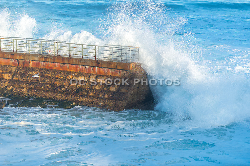 Waves Crashing on the Sea Wall at the Children's Pool at La Jolla Cove in San Diego California